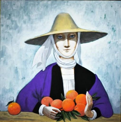 De las Casas Manuel, Mujer con naranjas, pintura oleo lienzo, enmarcado, pintura 80×80 cms. y marco 86×85 cms. (10)