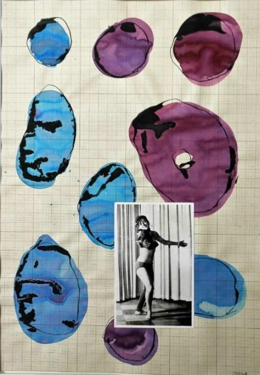 Pagola Javier, Burbujas, dibujo técnica mixta y collage sobre papel enmarcado, dibujo 41×29 cms. y marco 61×49 cms. (4)