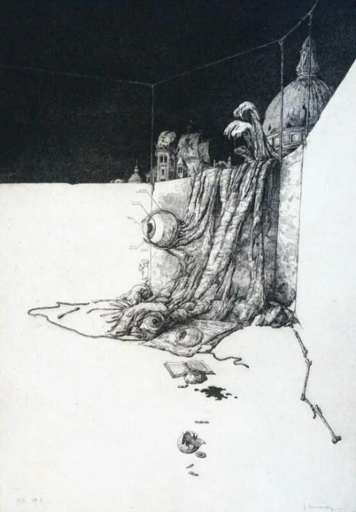 Hernandez José, Bacanal, ojos, grabado aguafuerte, edición 00 ejemplares, numerado y firmado a lápiz, 45×32 cms (4)