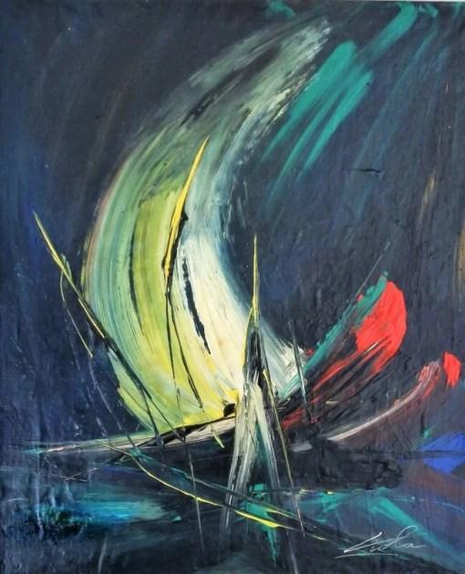 Viola, Velero, pintura técnica mixta lienzo pegado a tabla, enmarcado, pintura 55×46 cms. y marco 63×54 cms (19) – copia