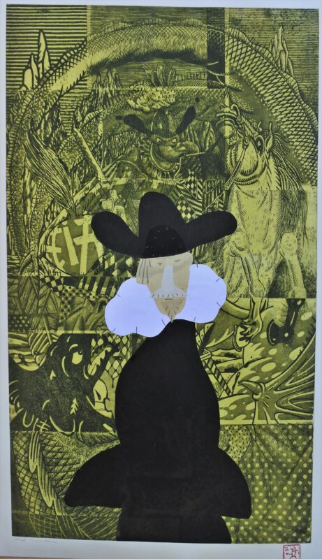 Bellver Fernando, Pequeña pinacoteca de la corte de Felipe II, Monotipo, tinta china y collage sobre grabado al aguafuerte, plancha 89×51 cms. y papel 96×56 cms. (6)