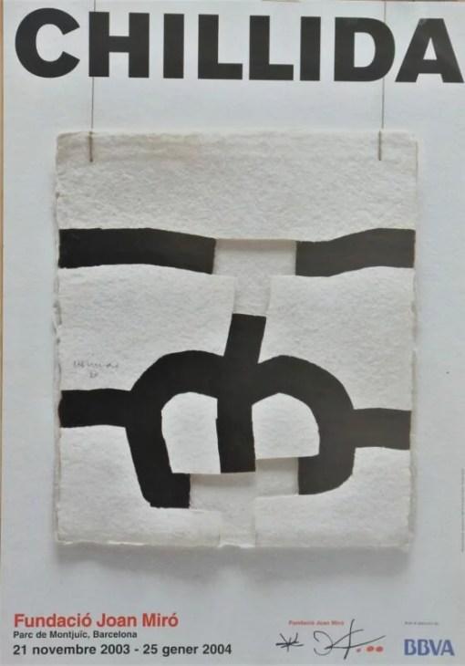 Chillida Eduardo, Fundación Joan Miró, cartel original exposición en la Funcación Joan Miró Barcelona en 2003-2004, 48×34 cms. (5)