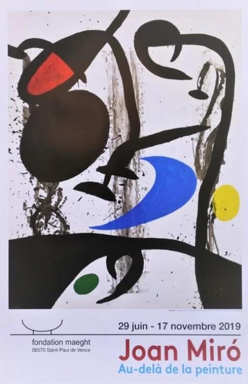 Miró Joan, Le grand Tryptique noir, cartel original exposición Au dela de la peinture en la Fondation Maeght, 90×60 cms (7)