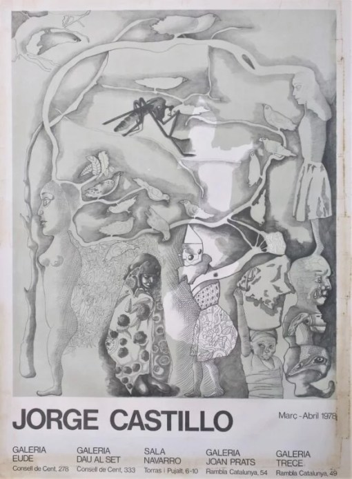 Castillo Jorge, Exposición múltiple en Barcelona, cartel original exposición en varias salas de Barcelona en 1978, 75,50×56 cms. (9) señales de uso