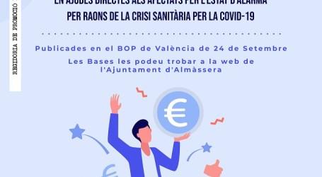 Almàssera pone en marcha un programa de ayudas para los comercios, autónomos y pequeñas empresas