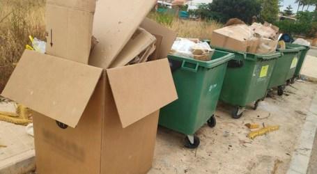 La Policia Local de Picassent denúncia l'abocament de grans caixes de cartó en contenidors orgànics de la Urbanització Sant Ramón