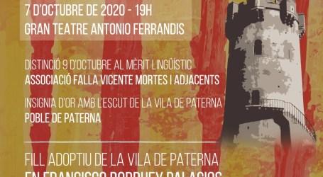El Ayuntamiento distinguirá con la Insignia de Oro de la Villa al Pueblo de Paterna y a la Falla Vicente Mortes