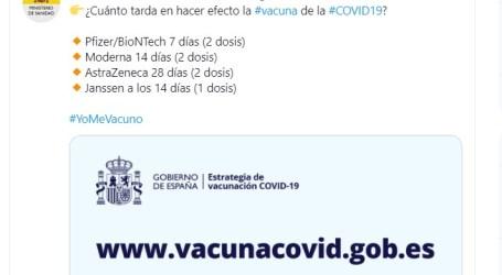 El Ministerio de Sanidad responde sobre cuánto tiempo tarda en hacer efecto la vacuna del coronavirus