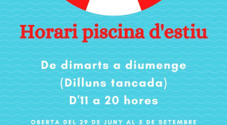 Manises obrirà la piscina dimarts 29 de juny