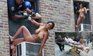 NUEVA YORK._ Una dominicana no identificada trató de suicidarse tirándose desnuda desde un quinto piso y cayendo en un acondicionador de aire. (Fotos Tomas E. Gaston y J.C. Rice / NY Post).