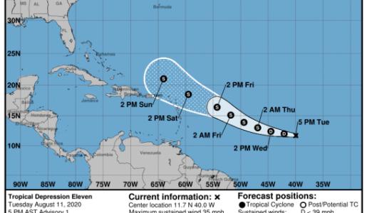 Meteorología anuncia la formación de la depresión tropical número once