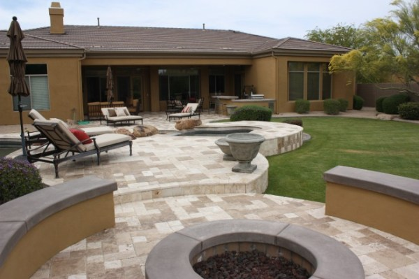 travertine pavers - .l. landscaping