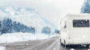 rv in winter on road