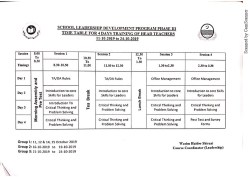 Schedule of 04 Days SLDP training in October 2019