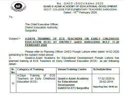 04 Days ECE Training of Teachers by QAED Lahore