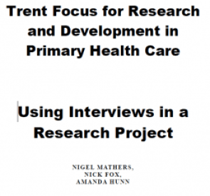 Types of interviews-Trent Focus for Research and Development in Primary Health Care