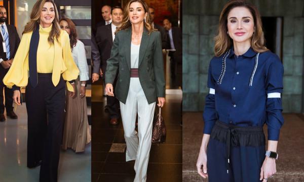 أحدث تصميمات أزياء الملكة رانيا العبد الله 2019 بالصور