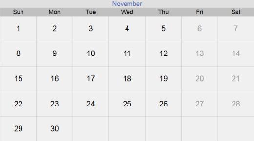 تقويم شهر نوفمبر 2020 التقويم الميلادي لشهر (11) تشرين الثاني 2020 بالإجازات