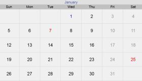 تقويم شهر يناير 2020 التقويم الميلادي لشهر (1) كانون الثاني 2020 بالإجازات