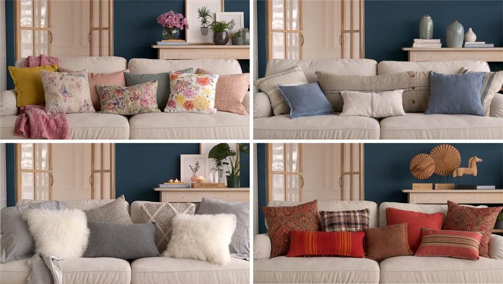 Montaje sofá con cambio de cojines según estación