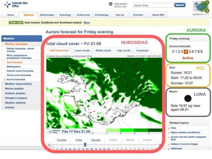 Inicio del Aurora Forecast. Predicción de auroras boreales en Islandia.