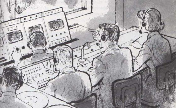 La cabina de control de la televisión