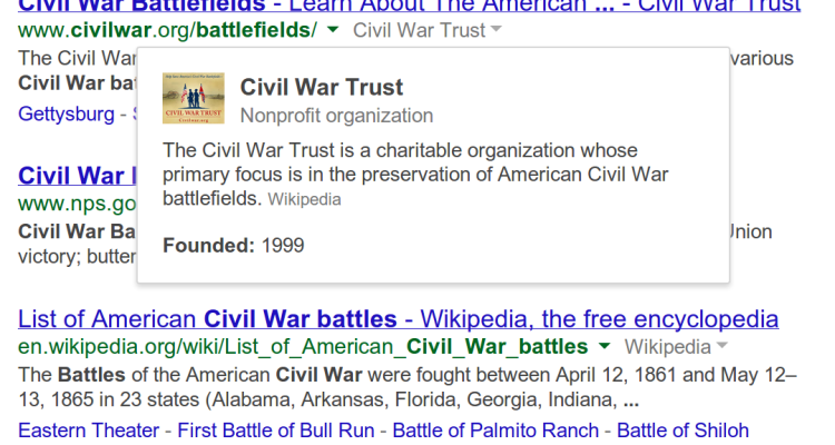 Google's Knowledge Graph on Google Search