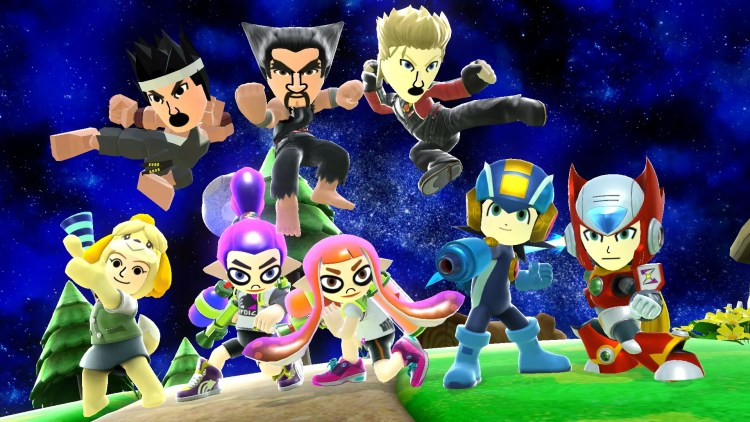 Mii Fighter Costumes from Virtua Fighter, Tekkem, MegaMan.EXE, and Splatoon