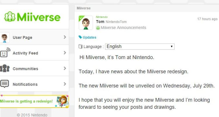 Nintendo announces launch of Miiverse redesign on July 29th