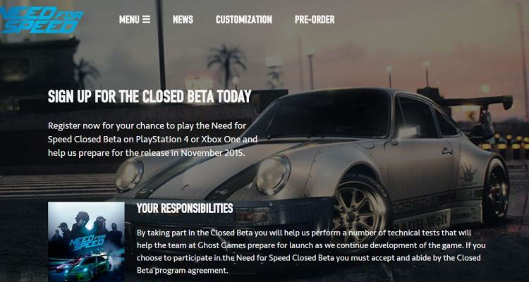EA opens closed beta sign-up for Need for Speed on PS4 and Xbox One