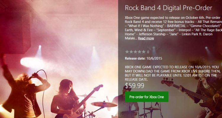 New Xbox.com search reveals Rock Band 4 DLC