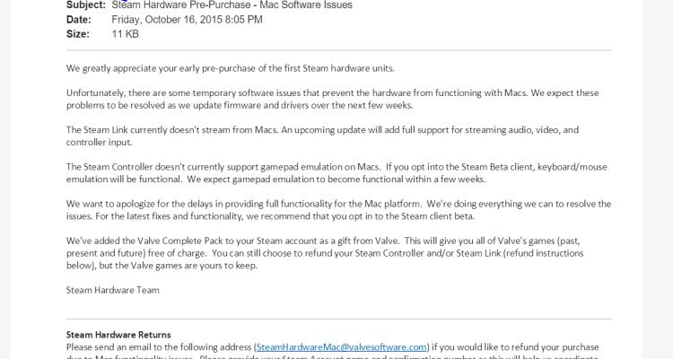 Steam se disculpa por la falta de compatibilidad con Mac en hardware y da paquete Valve a los usuarios que pidieron por adelantado