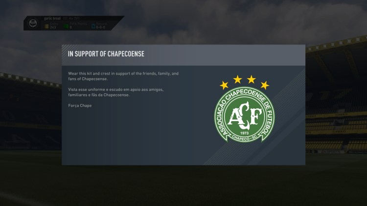EA pays tribute to Chapecoense in FIFA 17