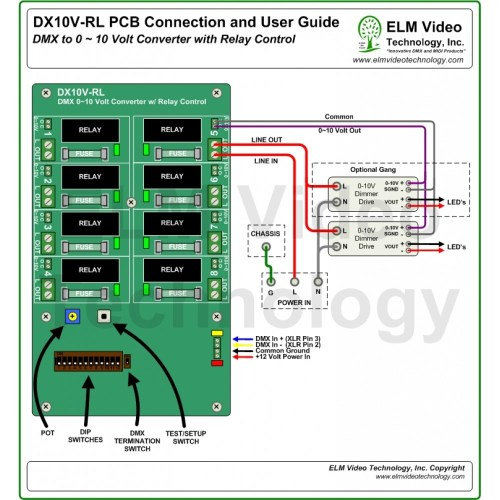 small resolution of  dmx 0 10 volt analog converter pcb with relay control