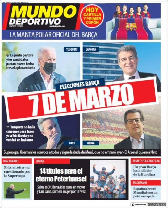 Mundo Deportivo Portada 16 01 2021