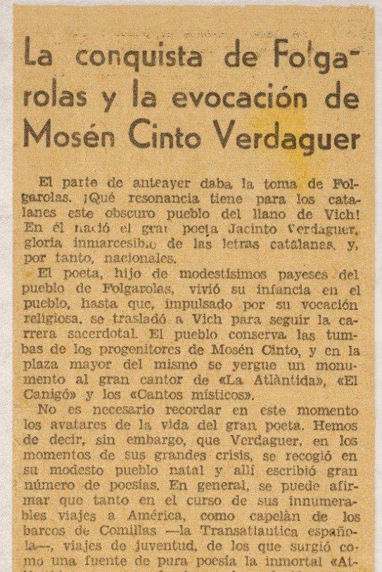 Verdaguer retall la conquista de folguerolas/ Museu d'Història de Catalunya
