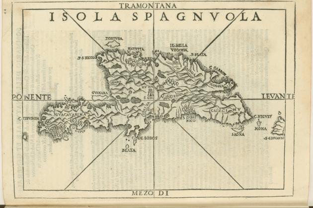Bartomeu Colom funda la primera capital americana. Mapa de l'illa Hispaniola (1556). Font Biblioteca de la Brown University. Rhode Island. USA