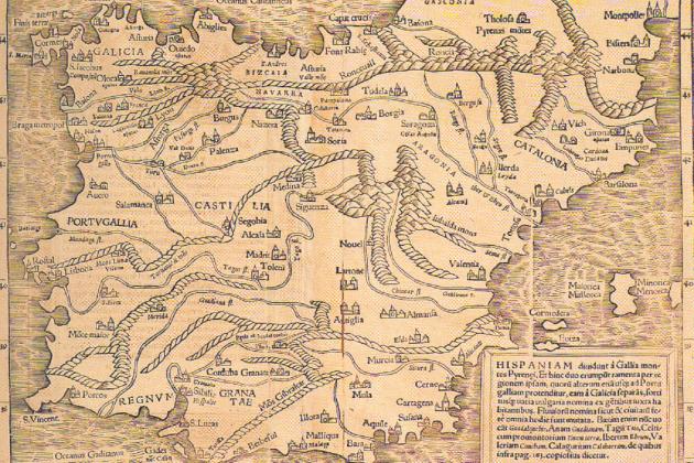 Mapa de la península ibčrica. Principis del segle XVI. Font Junta de Andalucia