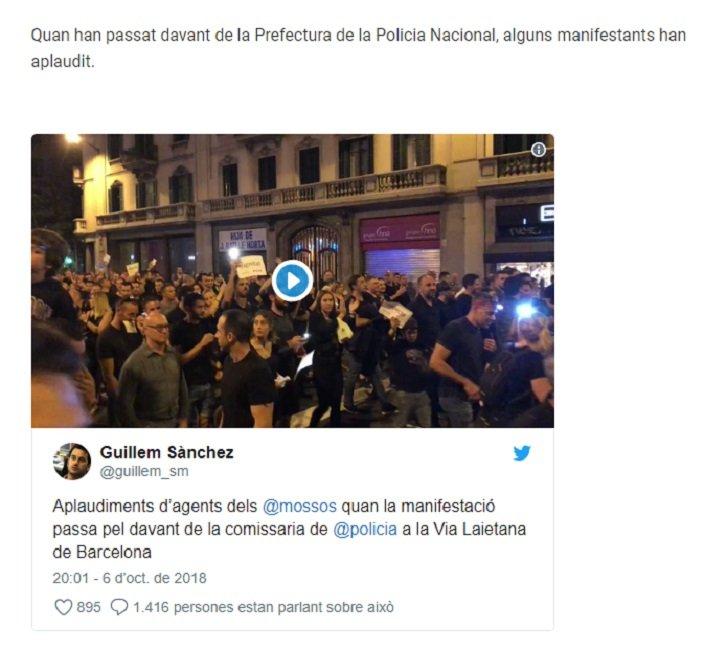 captura tv3 manifestació mossos