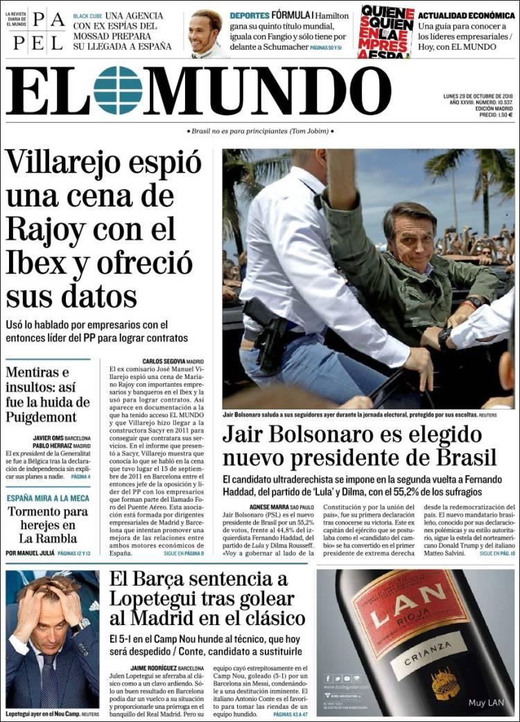 El Mundo Portada 29 10 2018
