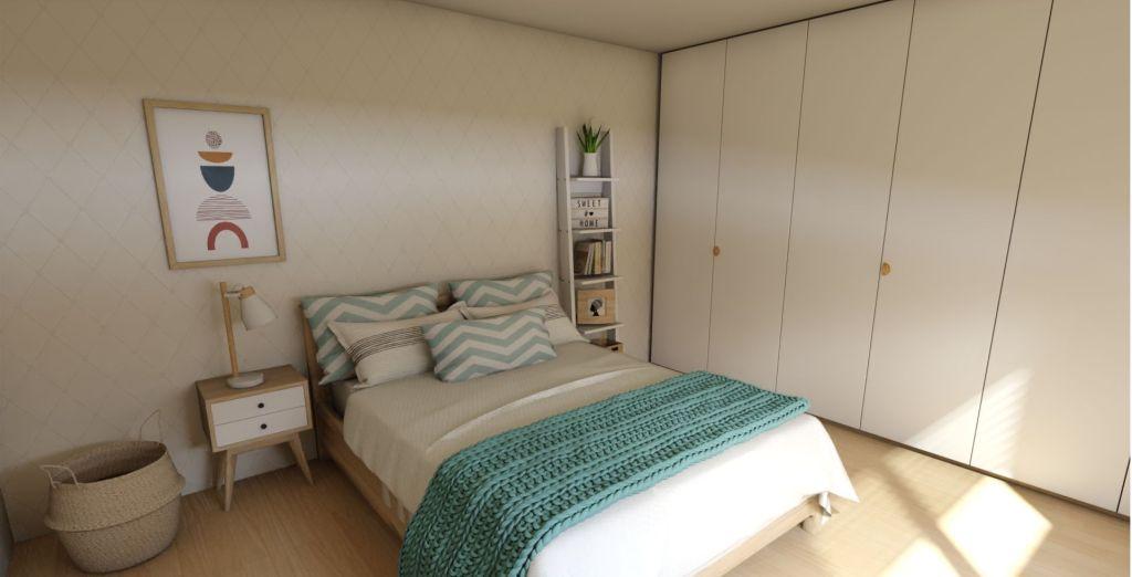 dormitorio de matrimonio completo vista frontal