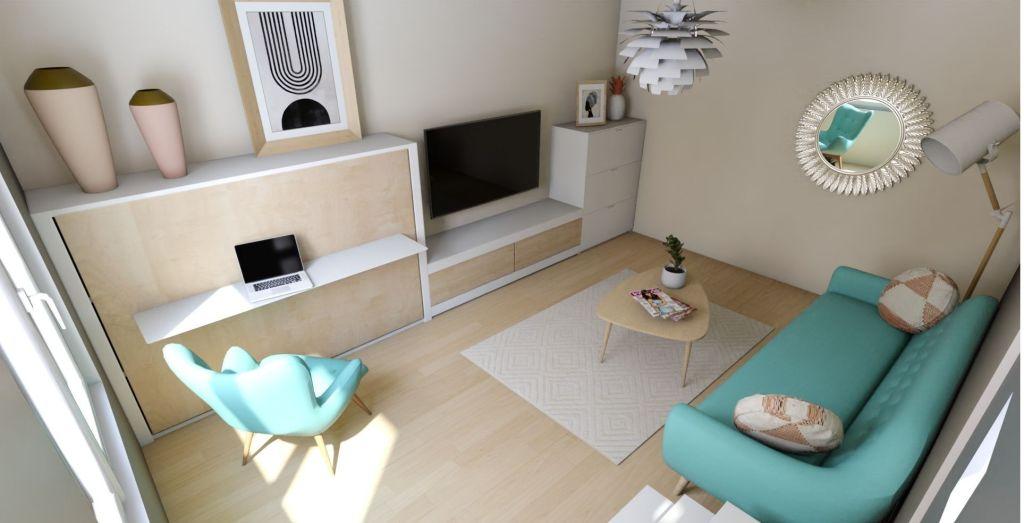 salón pequeño con cama de matrimonio abatible de estilo nórdico