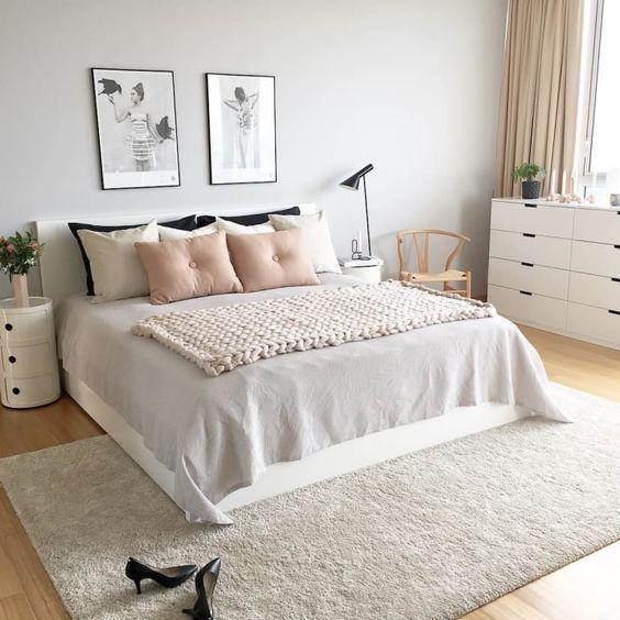 dormitorio de matrimonio pared en gris perla