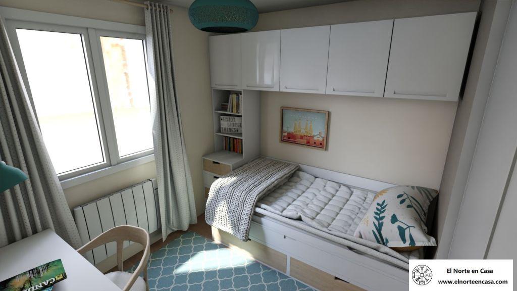 Habitación juvenil pequeña con cama puente nido