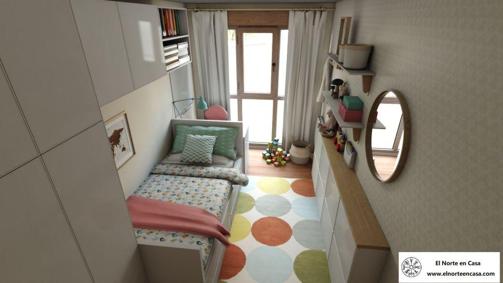 Diseño final de dormitorio infantil con muebles de Ikea