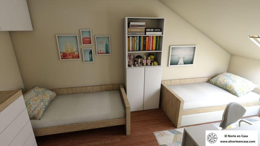 Dormitorio infantil abuhardillado con dos camas nido