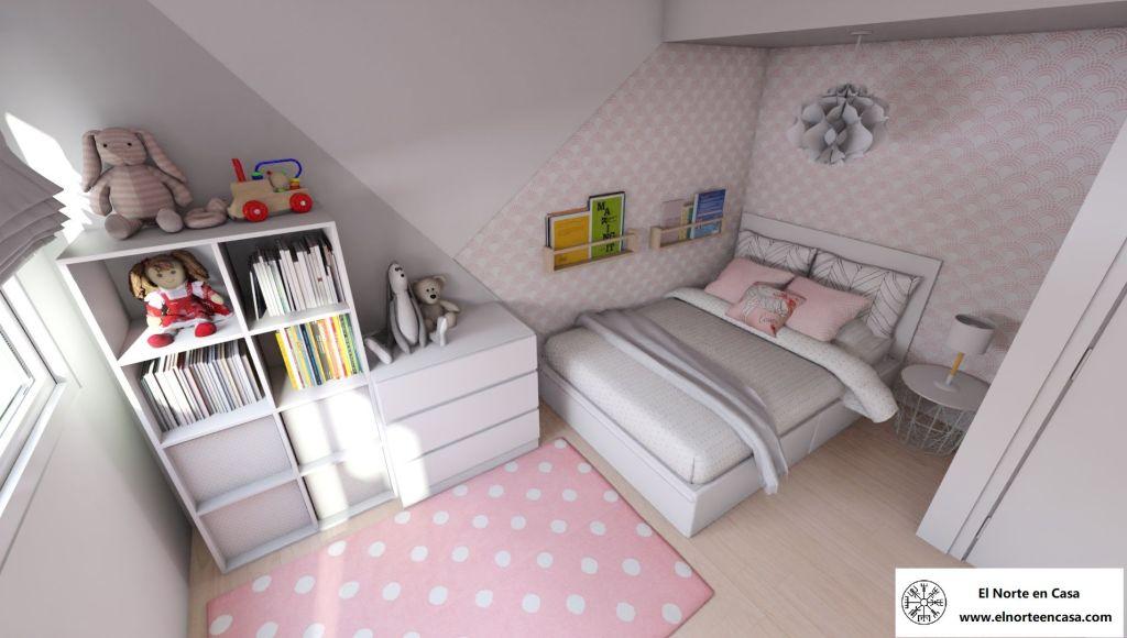 dormitorio infantil con cama de matrimonio