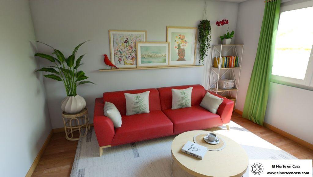 salón de estilo exótico con sofá rojo