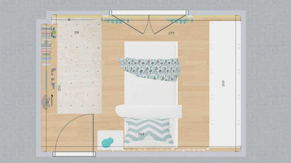plano cuarto infantil con armario de pared a pared