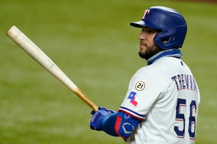 Texas Rangers player Jose Trevino opted to put Clemente's uniform number on the sleeve of his sports shirt.